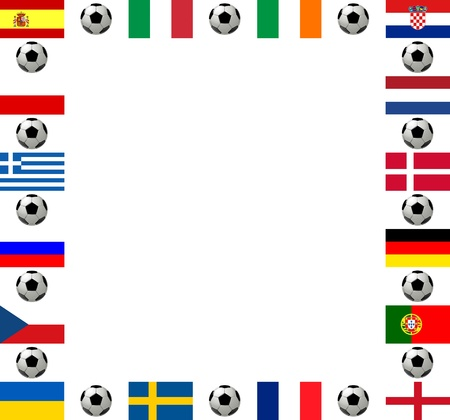 Square frame, composed of the flags from all 16 participating countries, sorted according to groups, and soccer balls or footballs, with place for text, white background photo