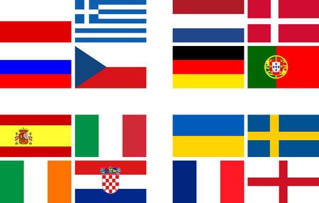National team flags European football championship 2012  Flags from all 16 participating countries, sorted according to groups photo