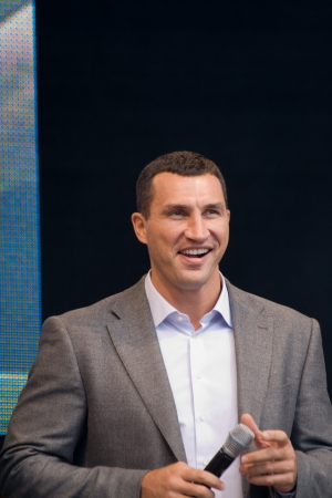 WEITERSTADT, GERMANY – SEPTEMBER, 2012: Wladimir Klitschko tells his fans about his life, his career and his wishes for the future on September 15, 2012 in Weiterstadt, Germany Editorial