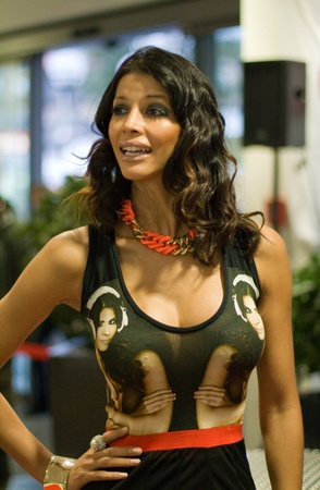 the autograph: HANAU, GERMANY � NOVEMBER 4, 2012: German model and dj Micaela Schaefer poses for a photo at a autograph session for fans on November 4, 2012 in Hanau, Germany