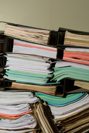 Stack of documents, papers and full binders with copyspace Stock Photo - 18343221