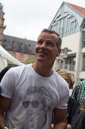 autograph: ASCHAFFENBURG, GERMANY ? SEPTEMBER, 2014: German former boxing champion Henry Maske at a autograph session for fans on September 20, 2014 in Aschaffenburg, Germany Editorial