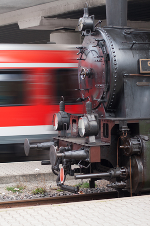 steam locomotive: Steam locomotive and passenger train, symbolic for fast or slow