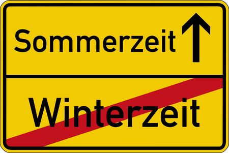 time change: Time change. The German words for wintertime and summertime (Winterzeit und Sommerzeit) on a road sign