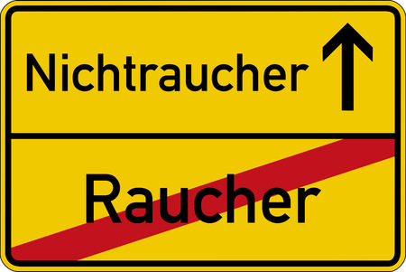 smoker: The German words for smoker and nonsmoker (Raucher and Nichtraucher) on a road sign
