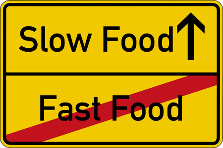 The words Slow Food and Fast Food on a road sign