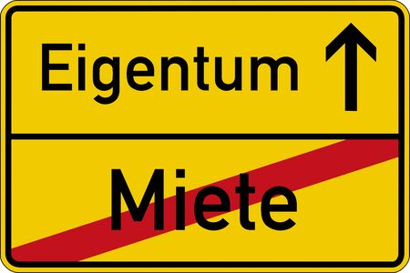The German words for rent and property (Miete und Eigentum) on a road sign Imagens