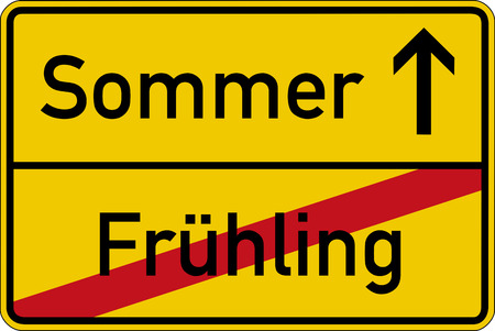 frhling: Season change. The German words for spring and summer (Fr?hling and Sommer) on a road sign