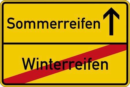 snow tires: The German words for winter tires and summer tires (Winterreifen and Sommerreifen) on a road sign Stock Photo
