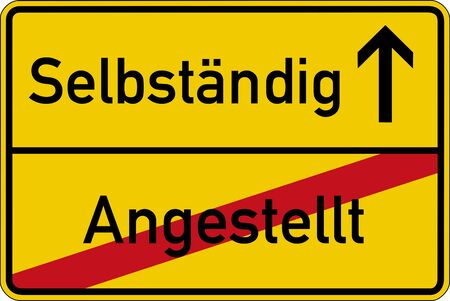 empleadas: Las palabras alemanas para (angestellt y selbstaendig) empleada e independiente en una se�al de tr�fico