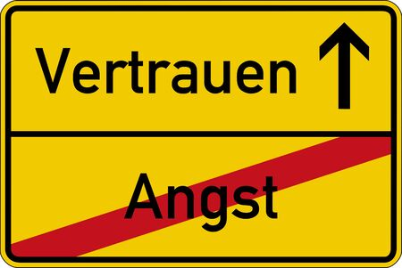 confidence: The German words for fear and confidence (Angst and Vertrauen) on a road sign Stock Photo