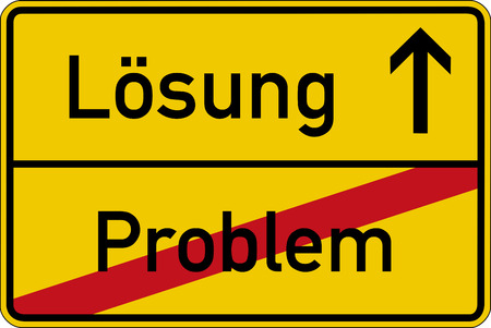 The German words for problem and solution (Problem and L?sung) on a road sign