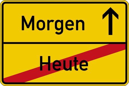 tomorrow: The German words for today and tomorrow (heute and morgen) on a road sign Stock Photo