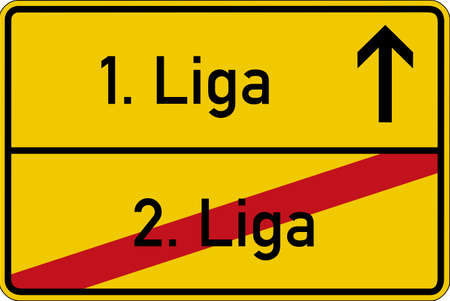 ascent: The German words for 1. league and 2. league (1. Liga and 2. Liga) on a road sign