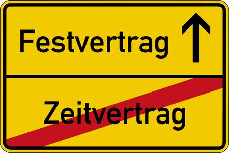 fixed: The German words for term contract and fixed contract Zeitvertrag and Festvertrag on a road sign Stock Photo