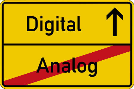 The German words for analog and digital analog and digital on a road sign