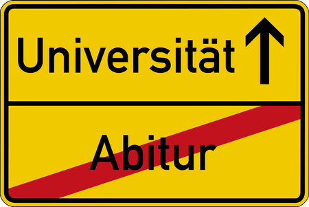 constructive: The German words for school leaving examination and university Abitur and Universitt on a road sign