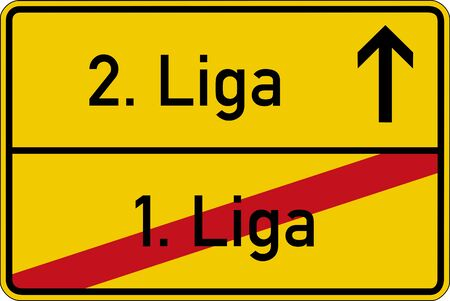 ascend: The German words for 1. league and 2. league 1. Liga and 2. Liga on a road sign