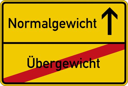 The German words for overweight and normal weight Uebergewicht and Normalgewicht on a road sign