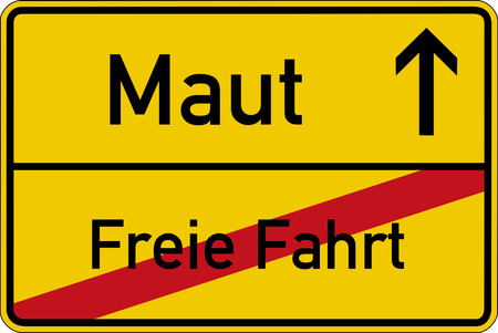 toll free: The German words for toll and free drive Maut and freie Fahrt on a road sign Stock Photo