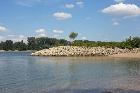 desolated: Shore of the Rhine Rhein at Gernsheim, Hessen, Germany Stock Photo