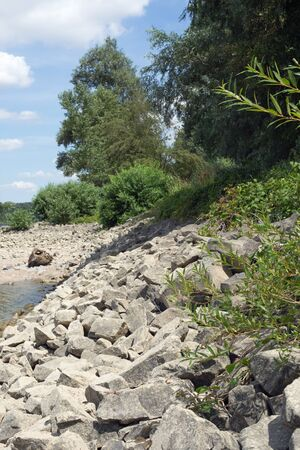 hessen: Shore of the Rhine Rhein at Gernsheim, Hessen, Germany Stock Photo