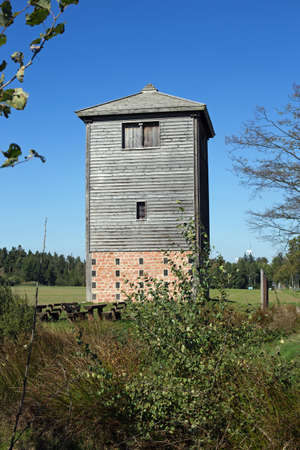 reconstructed: Reconstructed Limes watch tower at Vielbrunn Odenwald, Hesse, Germany Stock Photo