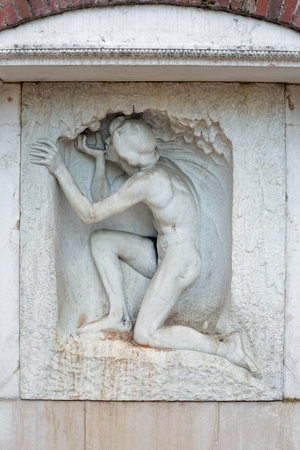 ludwig: Fountain sculpture Young Man Drinking Water, 1901, Mathildenhoehe Darmstadt Germany, architect Joseph Maria Olbrich, sculptor Ludwig Habich Stock Photo