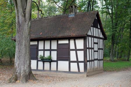 half timbered house: Half timbered house in forest, public park Schoenbusch near Aschaffenburg