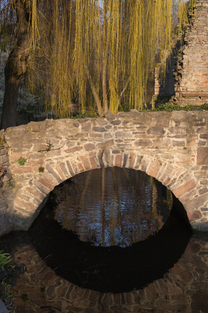 river main: Ruin in the public park Schoental in Aschaffenburg at the river Main (Bavaria, Germany)