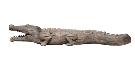 alligators: Wooden crocodile with open mouth, isolated on white