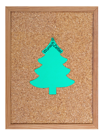 wish  list: Pin board with christmas tree and the word Wunschzettel (german word for wish list)