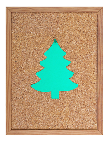 pin board: Pin board with christmas tree, isolated on white