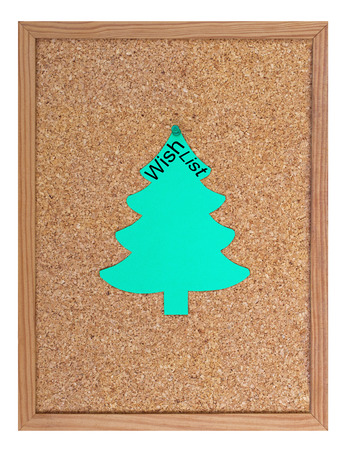 wish  list: Pin board with christmas tree and the word Wish List