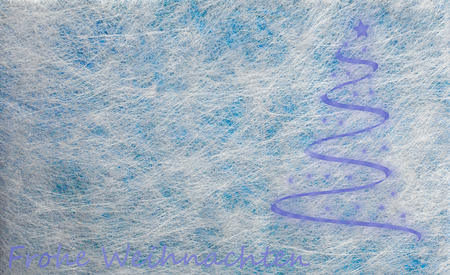frohe: Grey fiber fabric and blue glitter film and modern christmas tree and the german words for Merry Christmas (Frohe Weihnachten), background