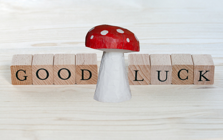 lucky charm: The words Good Luck and a lucky charm on wood Stock Photo