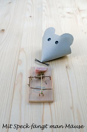Maus Aus Papier Und Mausefalle Mit Speck Auf Holz Gute Koder Fangt
