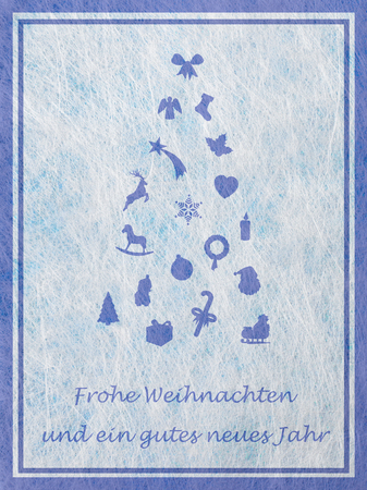motifs: Abstract christmas tree with various christmas motifs and the german word for Merry Christmas and a happy New Year