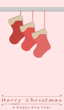 happy christmas: Christmas stockings and the words Merry Christmas and a happy new year, christmas card
