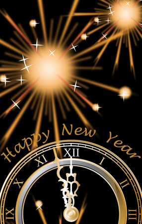 Clock and fireworks and Text Happy New Year, black background