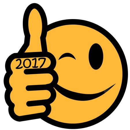 thump: New Year´s smiley with thumb up and year 2017 Stock Photo