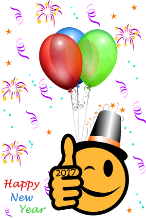 smiley pouce: New Year´s smiley with thumb up and year 2017, party background
