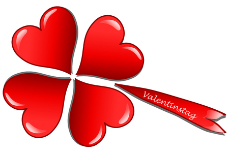 valentineday: Four hearts in form of a clover leaf and the german word for valentine`s day (Valentinstag), 3D illustration Stock Photo