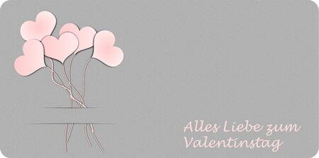valentineday: Five balloon hearts and german text for Happy Valentine`s Day, 3D illustration