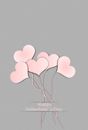 valentineday: Five balloon hearts and text Happy Valentine`s Day, 3D illustration Stock Photo