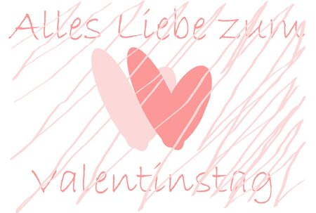 valentineday: Two hearts and german text for Happy Valentine`s Day