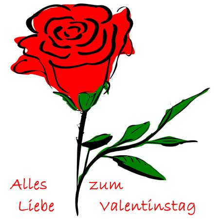 valentineday: Rose and german text for Happy Valentine`s Day Stock Photo