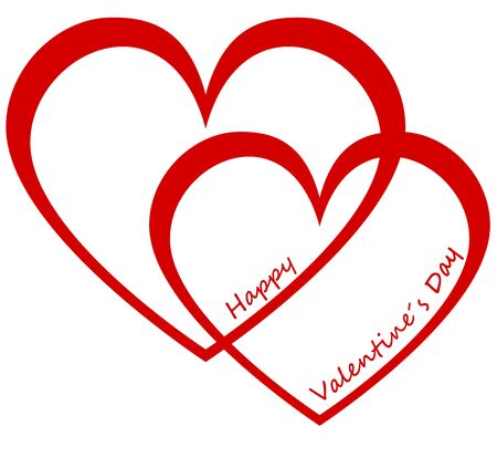 valentineday: Two hearts and text Happy Valentine`s Day
