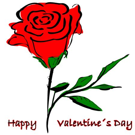 valentineday: Rose and text Happy Valentine`s Day Stock Photo
