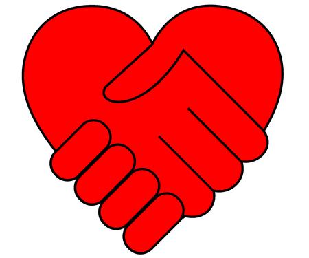 Coeur et deux mains stylisées, isolé sur blanc